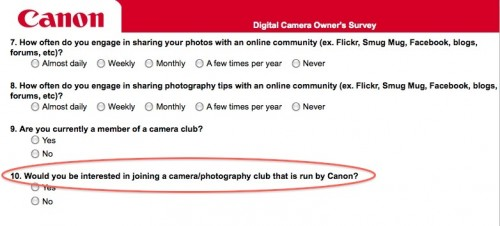 Canon Membership Site Survey